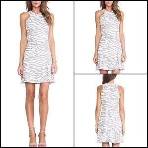 Rebecca Taylor Pastel Zebra Pleated Halter Dress
